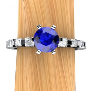 Sapphire Engagement Ring In Palladium, Half Carat Solitaire, Princess Accented Band – Free Gift Wrapping