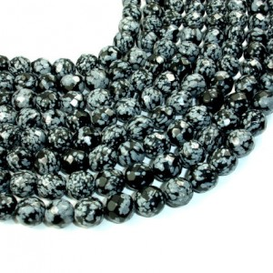 Snowflake Obsidian Beads, Faceted Round, 12 Mm, 15 Inch, Full Strand, Approx 32 Beads, Hole 1.5 Mm (410025001)