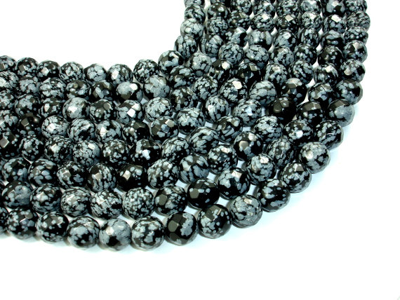 Snowflake Obsidian Beads, Faceted Round, 12mm, 15 Inch, Full Strand, Approx 32 Beads, Hole 1.5 Mm (410025001)