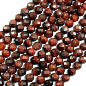 Red Tiger Eye Beads, Faceted Round, 8 Mm (7.7 Mm), 15.5 Inch, Full Strand, Approx 51 Beads, Hole 1 Mm (383025002)
