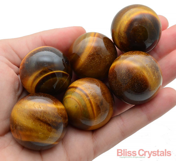 1 Gold Tiger's Eye Sphere + Stand Crystal Healing Crystals And Stones Gold Tigereye Motivation Power Energy #te22
