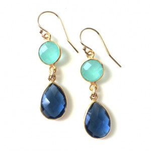 London Blue Topaz And Aqua Chalcedony Double Drop Gold Earring, Navy And Aqua Earrings