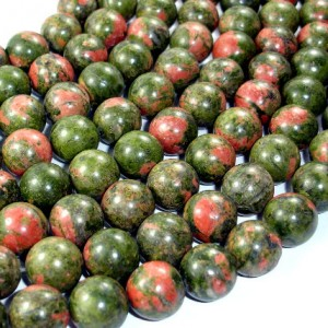 Unakite Beads, Round, 14 Mm, 15.5 Inch, Full Strand, 28 Beads, Hole 1.2 Mm, A Quality (429054006)