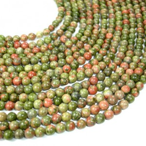 Unakite, 6mm(6.5mm) Round Beads, 15 Inch, Full Strand, Approx 62 Beads, Hole 1 Mm, A Quality (429054001)