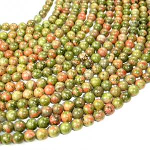 Unakite Beads, Round, 8 Mm, 15.5 Inch, Full Strand, Approx 47 Beads, Hole 1 Mm, A Quality (429054002)