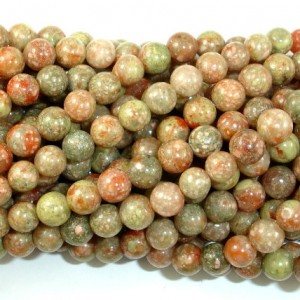 Chinese Unakite, Round Beads, 6mm (6.5 Mm), 15.5 Inch, Full Strand, Approx 63 Beads, Hole 0.8mm, A Quality (195054001)