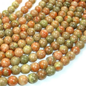 Chinese Unakite Beads, Round, 8mm (8.5 mm), 15.5 Inch, Full strand, Approx 48 beads, Hole 1 mm, A quality (195054004)