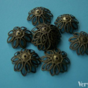 100 Pcs Antiqued Bronze Filigree Flower Bead Caps 15mm A2057