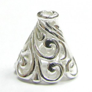 2 pcs .925 Sterling Silver Flower Filigree Bead Cone Cap 10mm / Findings / Bright