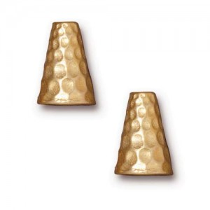 22K Gold Plated Pewter Hammertone Tall Cone Strand Reducer Beads 12.8mm (2)