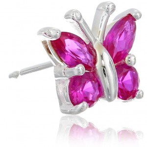 Sterling Silver Birthstone Butterfly Stud Earrings | Shop jewelry making and beading supplies, tools & findings for DIY jewelry making and crafts. #jewelrymaking #diyjewelry #jewelrycrafts #jewelrysupplies #beading #affiliate #ad