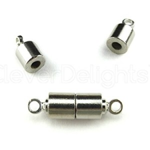 8 CleverDelights Magnetic Jewelry Clasps – Tube Style – Silver Color – Necklace Magnet Clasp Converter