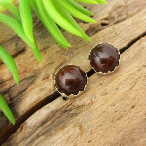Non-faceted Brown Fire Agate Earrings, Real Gems In White Gold, Rose Gold, Yellow Gold, Or Silver, 6mm Lot 337 – Free Gift Wrapping
