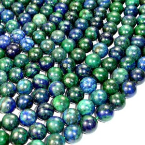 Shop Azurite Round Beads! Azurite Malachite Beads, Round, 10 mm, 15.5 Inch, Full strand, Approx 38 beads, Hole 1 mm, A quality (129054006) | Natural genuine round Azurite beads for beading and jewelry making.  #jewelry #beads #beadedjewelry #diyjewelry #jewelrymaking #beadstore #beading #affiliate #ad