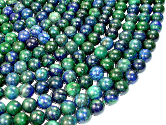 Azurite Malachite Beads, Round, 10 Mm, 15.5 Inch, Full Strand, Approx 38 Beads, Hole 1 Mm, A Quality (129054006)