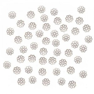 Beadaholique Open Petal Flower Bead Caps, 6mm, Bright Silver Plated