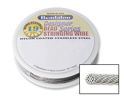 Beadalon Stringing Wire 19-Strand .015-Inch (.38-Millimeter) Diameter 30-Feet/Pkg, Bright
