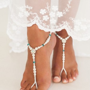 Bead barefoot sandals, Bridal foot jewelry, Pearl and Rhinestone Beach wedding Barefoot Sandals, Swarovski Elements, Something Blue, Anklet | Shop jewelry making and beading supplies, tools & findings for DIY jewelry making and crafts. #jewelrymaking #diyjewelry #jewelrycrafts #jewelrysupplies #beading #affiliate #ad