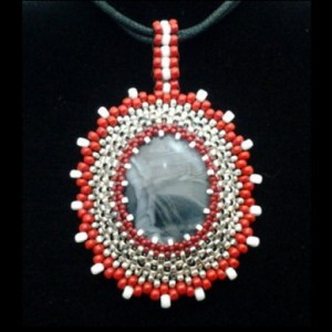 Beaded Bezel Cabochon Pendant: Beading & Jewelry Making Tutorial Series I20 | Shop jewelry making and beading supplies, tools & findings for DIY jewelry making and crafts. #jewelrymaking #diyjewelry #jewelrycrafts #jewelrysupplies #beading #affiliate #ad