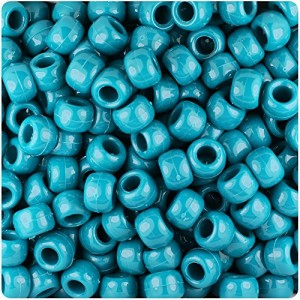 BEADTIN Dark Teal Opaque 9mm Barrel Pony Beads (500pc) | Shop jewelry making and beading supplies, tools & findings for DIY jewelry making and crafts. #jewelrymaking #diyjewelry #jewelrycrafts #jewelrysupplies #beading #affiliate #ad