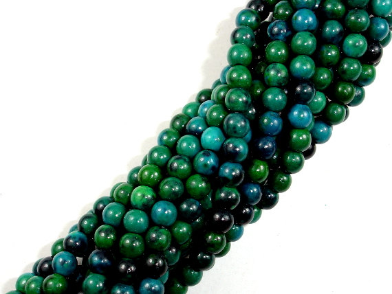 Chrysocolla , 4mm Round Beads , 16 Inch, Full Strand, Approx 94 Beads, Hole 1 Mm, A Quality, Reconstituted  (196054006)