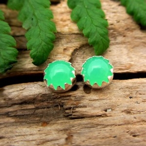 Shop Chrysoprase Jewelry! Chrysoprase Stud Earrings | 14k Gold or Sterling Silver Cabochons | Low Profile Serrated or Crown Setting | A Grade | Natural genuine Chrysoprase jewelry. Buy crystal jewelry, handmade handcrafted artisan jewelry for women.  Unique handmade gift ideas. #jewelry #beadedjewelry #beadedjewelry #gift #shopping #handmadejewelry #fashion #style #product #jewelry #affiliate #ad