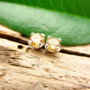 Citrine Stud Earrings, Soft Yellow Earrings in Gold, Silver, or Platinum, 3mm