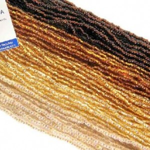 Czech 11/0 Glass Seed Beads (Five 6 String Hanks) 30 18 Strands Silver Lined Topaz Gold Mix Preciosa Jablonex "