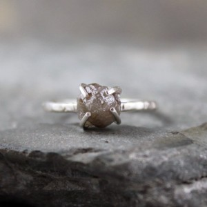 Shop Raw Diamond Engagement Rings! Rough Diamond Ring – Raw Uncut Diamond – Sterling Silver Gemstone Ring – Engagement Ring – Stacking Rings – April Birthstone  – 2 Carat | Natural genuine Diamond rings, simple unique alternative gemstone engagement rings. #rings #jewelry #bridal #wedding #jewelryaccessories #engagementrings #weddingideas #affiliate #ad