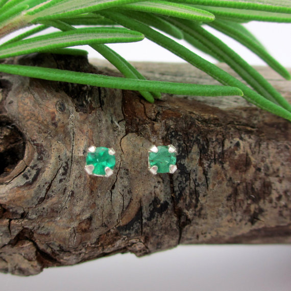 Emerald Earrings In Sterling Silver With Genuine Emeralds, 3mm Studs