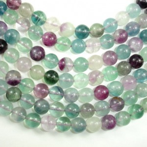 Fluorite Beads, Rainbow Fluorite, Round, 10mm, 16 Inch, Full Strand, Approx 39 Beads, Hole 1mm (224054012)