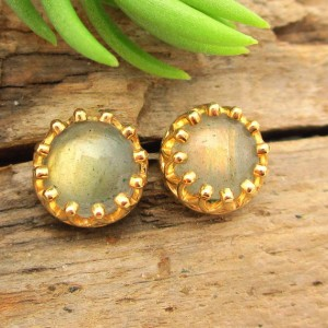 Non-faceted Gold Labradorite Earrings, Real Gems In Yellow Gold, 6mm – Free Gift Wrapping