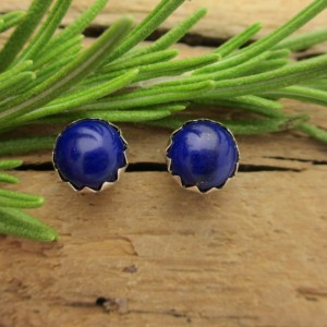 Shop Lapis Lazuli Earrings! Lapis Lazuli Cabochon Studs, 14k Gold Stud Earrings or Sterling Silver Lapis Studs – 4mm, 6mm Low Profile Serrated or Crown Earrings | Natural genuine Lapis Lazuli earrings. Buy crystal jewelry, handmade handcrafted artisan jewelry for women.  Unique handmade gift ideas. #jewelry #beadedearrings #beadedjewelry #gift #shopping #handmadejewelry #fashion #style #product #earrings #affiliate #ad