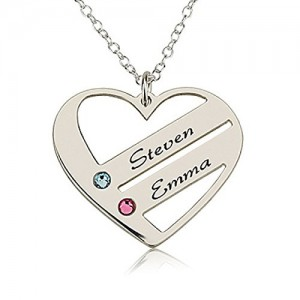 Love Pendant Heart Necklace with Birthstones – Birthstone Heart Necklace – Custom Made with Any Names (18 Inches) | Shop jewelry making and beading supplies, tools & findings for DIY jewelry making and crafts. #jewelrymaking #diyjewelry #jewelrycrafts #jewelrysupplies #beading #affiliate #ad