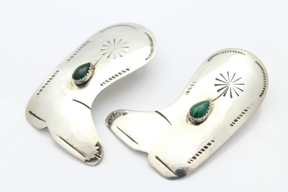 Artisan Sterling Silver Large Cowboy Boot Studs Earrings W/ Malachite. [8209]