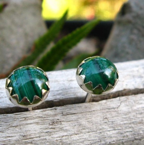 Malachite Cabochon Studs, 14k Gold Stud Earrings Or Sterling Silver Malachite Studs - 6mm Low Profile Serrated Or Crown Earrings
