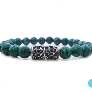 Men's Bracelet, For Men, Bracelet For Men, Green Malachite And Sterling Silver Bracelet, Bead Bracelet Man, Bracelet For Man, Gift For Man