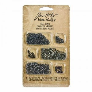Metal Ball Chains with Connectors by Tim Holtz Idea-ology, 3 36-Inch Chains and 18 Connectors, Antique Finishes, TH92675
