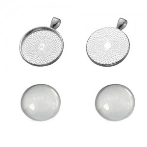 Miraclekoo 20 Set Silver Plated Round Bezel Pendant Trays with Glass Cabochon 25 mm Blanks Cameo Bezel Cabochon Settings | Shop jewelry making and beading supplies, tools & findings for DIY jewelry making and crafts. #jewelrymaking #diyjewelry #jewelrycrafts #jewelrysupplies #beading #affiliate #ad