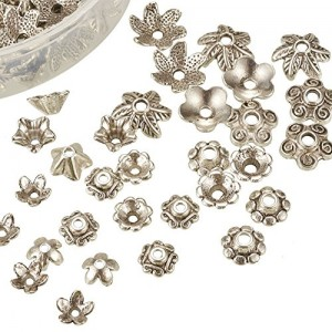 Mixed Style Tibetan Style Alloy Flower Bead Caps with a White Container
