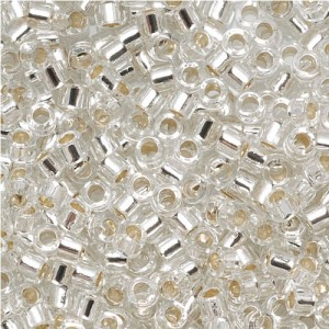 Miyuki DB041 7.2gm Delica Seed Beads, Size 11/0, Silver Lined Crystal