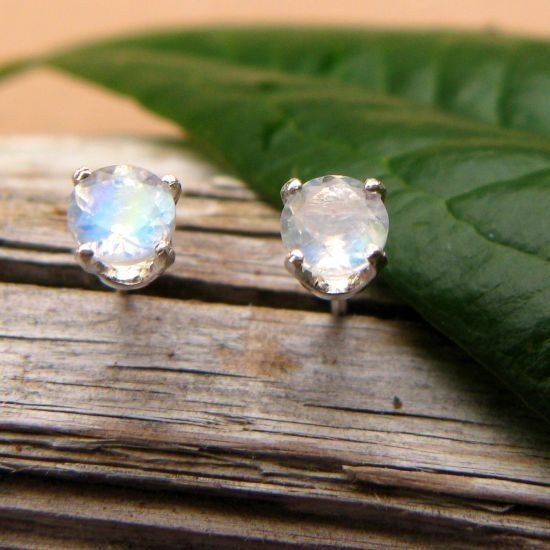 Blue Moonstone Stud Earrings In Gold, Silver, Or Platinum With Genuine Gems - 4mm