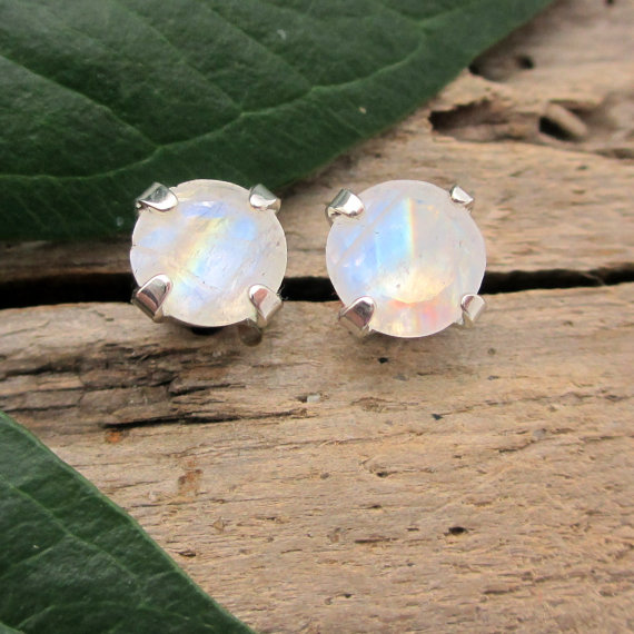 Rainbow Moonstone Earrings: Solid 14k Gold, Platinum, Or Sterling Silver Studs | Minimalist Jewelry For Men Or Women | Made In Oregon