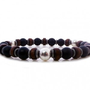 Shop Onyx Bracelets! Men's Bracelet, For Men, Matte Onyx, Sterling Silver, And Coconut Wood Bracelet, Bracelet For Men, Man's Bracelet, Bracelet For Man, For Man | Natural genuine Onyx bracelets. Buy handcrafted artisan men's jewelry, gifts for men.  Unique handmade mens fashion accessories. #jewelry #beadedbracelets #beadedjewelry #shopping #gift #handmadejewelry #bracelets #affiliate #ad