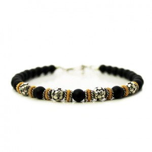 Men's Bracelet, Matte Black Onyx, Sterling Silver Bali Beads And 22 Karat Gold Vermeil Men's Bracelet