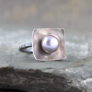 Pearl Ring – Sterling Silver – Misty Grey Pearl – Statement Ring – Cocktail Ring – June Birthstone Ring
