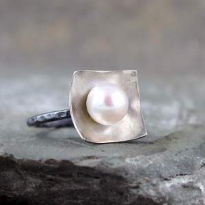 Pearl Ring – Sterling Silver – White Fresh Water Pearl – Statement Ring – Cocktail Ring – June Birthstone Ring