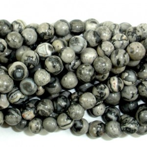 Gray Picture Jasper Beads, Round, 4mm (4.5mm), 15.5 Inch, Full Strand, Approx 92 Beads, Hole 0.8 Mm (141054002)