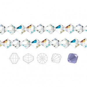 Preciosa Czech Crystal Beads Clear AB Faceted Bicone 8mm Package of 72