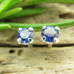 Blue Sapphire Studs – Genuine Blue Sapphire Stud Earrings In Real 14k Gold, Sterling Silver, Or Platinum – 3mm